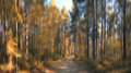 Fuzzy autumn forest with sunbeams Royalty Free Stock Photos
