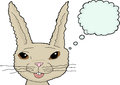 Fuzzy cartoon rabbit over white isolated thinking bunny with happy expression Royalty Free Stock Image