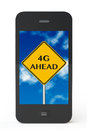 G ahead sign with mobile phone on a white background Stock Photo