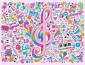 G-Clef Music Notes  Groovy Notebook Doodles Vector Stock Images