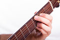 G major chord performed on acoustic guitar Stock Image