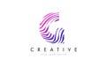 G Zebra Lines Letter Logo Design with Magenta Colors