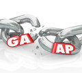 Gaap generally accepted accounting principles broken chains viol acronym or abbreviation d letters on a chain to illustrate a Royalty Free Stock Photo