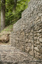 Gabion baskets filled with stones plastic covered wire mesh stone for slope stabilization Stock Images