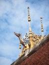Gable apex nagas of thai temple Stock Image