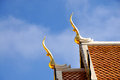 Gable apex roof wat doi suthap in thailand Stock Images