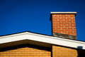 Gable of Brick House With Brick Chimney Royalty Free Stock Photo