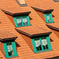 Gables on red roof Royalty Free Stock Photography