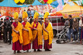 Gaden Shartse Tibetan Monks Royalty Free Stock Photography