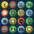 Gadget flat icons. Computer, laptop, tablet, flash drive, camera, smartphone and other. Royalty Free Stock Photo