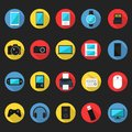 Flat Technology Equipment/ Computer Equipment Icon Set vector Illustration