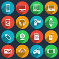 Gadget icons set phone and camera media laptop and headphone electronic video player vector illustration Stock Photography