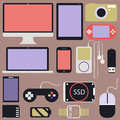 Gadget and other electronics flat design vector Royalty Free Stock Photos