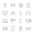 Gadgets and computer technology thin line vector icons