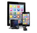 Gadgets render of a group of tablet pc smart phone and a media player Stock Image