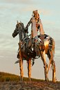 Gaelic chieftain statue boyle co roscommon at sunrise commemorating the battle of curlew pass in Royalty Free Stock Photo