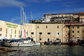 Gaeta landscape view of lt italy a typical mediterranean borough port with the nautical school of the guardia di finanza Stock Images