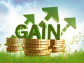 Gain and profitable gold coins symbol Royalty Free Stock Photography