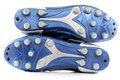 Gaines/chaussures bleues brillantes toutes neuves du football Photos stock