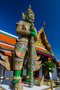 Gaint guardian at wat phra kaew temple of the emerald buddha in bangkok capital city thailand Royalty Free Stock Image