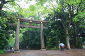 Gaint torii gate the entrance of meji jingu shrine in tokyo Stock Photos