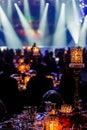 Gala Dinner Event Dinner Decor in dark room Royalty Free Stock Photo