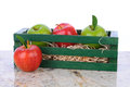 Gala and Granny Smith Apples in Wood Box Royalty Free Stock Photos
