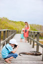 Galapagos islands vacation family on at Royalty Free Stock Image