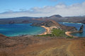 Galapagos islands viewpoint of the in the foreground the volcanic island bartolome at the second level the san salvador island we Stock Photography
