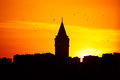Galata tower at sunset in istanbul turkey Royalty Free Stock Image