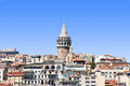 Galata tower view of the district and the istanbul Royalty Free Stock Photo
