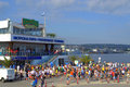 Galata varna contestants at the port varna on august was held th anniversary swimming marathon it involved participants on photo Stock Photos