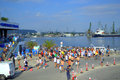 Galata varna marathon swimmers at the port varna on august was held th anniversary swimming it involved participants on photo Stock Photos
