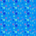 stock image of  Galaxy seamless pattern. Stars and planets. Blue cosmic background.