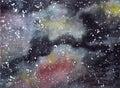 Galaxy Universe Cosmos Watercolor Illustration