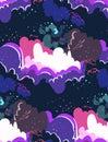 Galaxy vector cartoon illustration dark seamless pattern