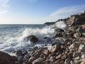Gale in the adriatic sea seashore a springtime montenegro Stock Photography