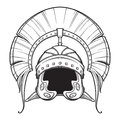 Galea. Roman Imperial helmet with crest tipically worn by centurion. Front view. Heraldry element. Black a nd white