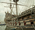 Galeon side of the reconstruction of an old Royalty Free Stock Photo