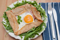 Galette de sarasin french buckwheat crepe with egg and ham Royalty Free Stock Photography