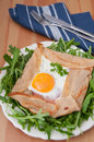 Galette de sarasin french buckwheat crepe with egg and ham Royalty Free Stock Photos