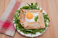 Galette de sarasin french buckwheat crepe with egg and ham Stock Images