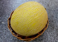 Galia melon sarda in india and persia cucumis melo var reticulatus a up to kg in size with light yellow to dark yellow Stock Photo
