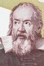 Galileo Galilei portrait from Italian money