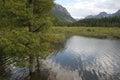 Hyalite Reservoir and Mountain Range in Bozeman,  Montana USA Royalty Free Stock Photo