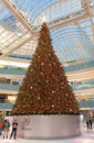 Galleria dallas december gigantic christmas tree is in the middle of ice kating rink on in Royalty Free Stock Photo