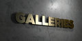 Galleries - Gold sign mounted on glossy marble wall - 3D rendered royalty free stock illustration