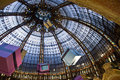 Galleries lafayette ceiling a beautiful view of the famous s stained glass in paris during christmas season Stock Image