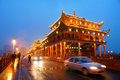 Gallery bridge the night scene of fengyu in ya an sichuan province china Royalty Free Stock Images