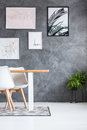 Gallery on concrete dark wall Royalty Free Stock Photo